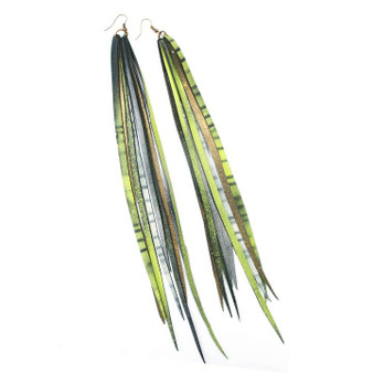 Feather Tube Earrings, Green Goddess