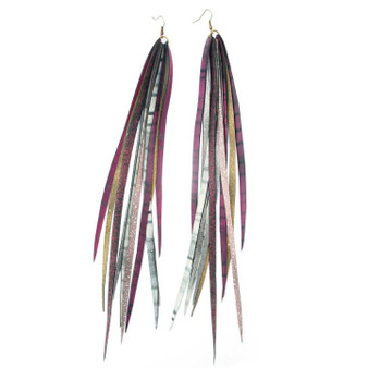Feather Tube Earrings, Fancy Fanta