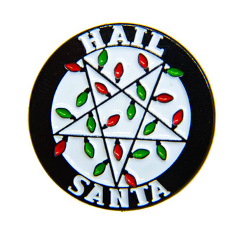 """Hail Santa"" Inverted Pentacle Christmas Light Enamel Pin"