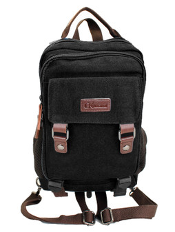Double Compartment Rucksack Style Backpack with Double Magnetic Snap Closure and Premium Zipper Pulls