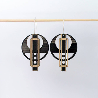 Wright Earrings: Black and White
