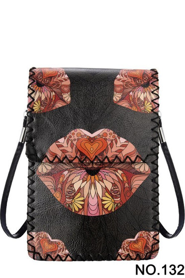Lips Print Crossbody Cellphone Bag