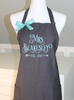 Mrs. Apron in Heritage Font with Date in Arrows