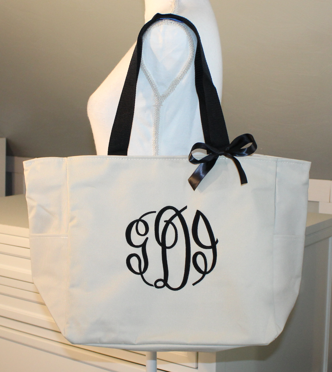 SM-BG407 Embroidered Monogrammed Zippered Tote Monogrammed Zippered Tote Bag Monogrammed Handbag