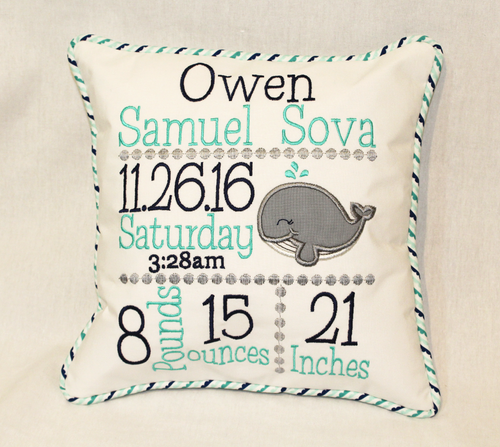 Whale Birth Announcement Pillow