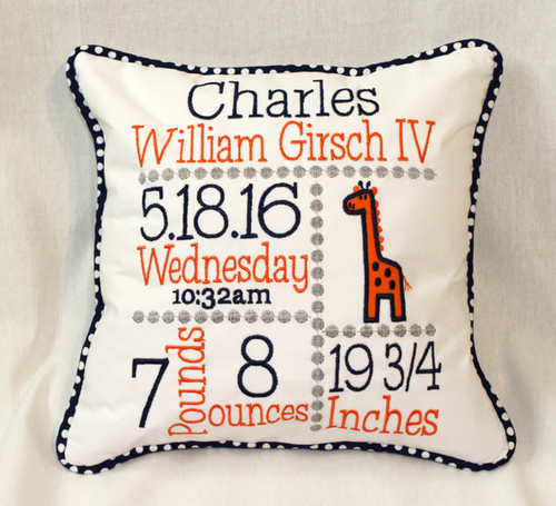 Giraffe Custom Birth Announcement Pillow