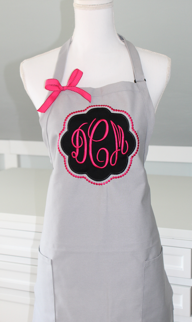 Appliqued Monogrammed Apron with bow