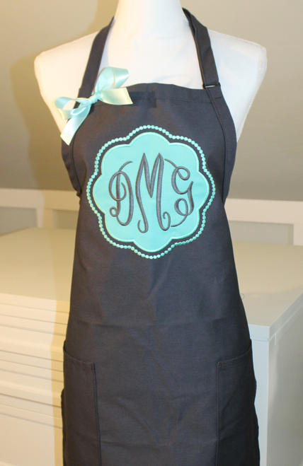 Applique Monogrammed apron with 3 letter monogram - Pool on Charcoal
