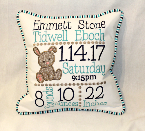 Bunny Custom Birth Announcement Pillow