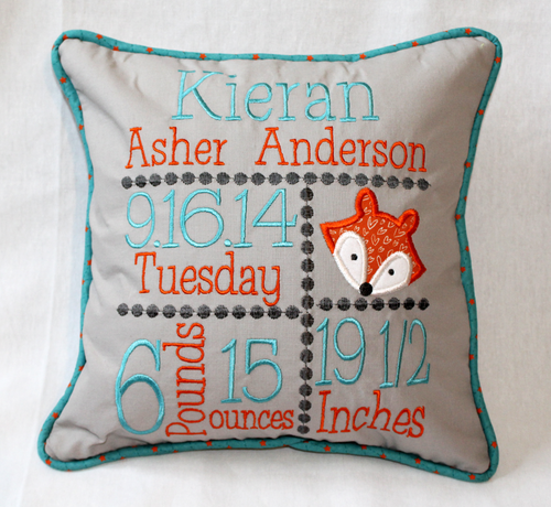 Fox Custom Birth Announcement Pillow