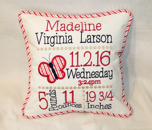 Butterfly Custom Birth Announcement Pillow