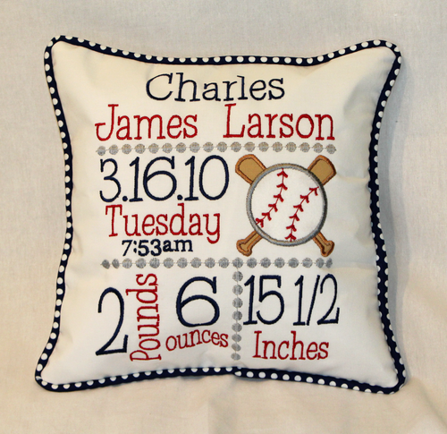 Baseball Birth Announcement Pillow