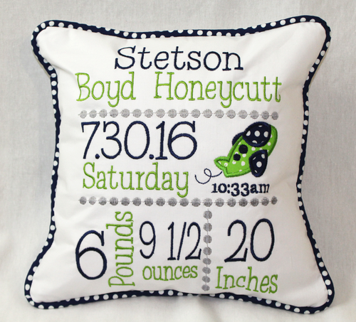 Airplane Birth Announcement Pillow