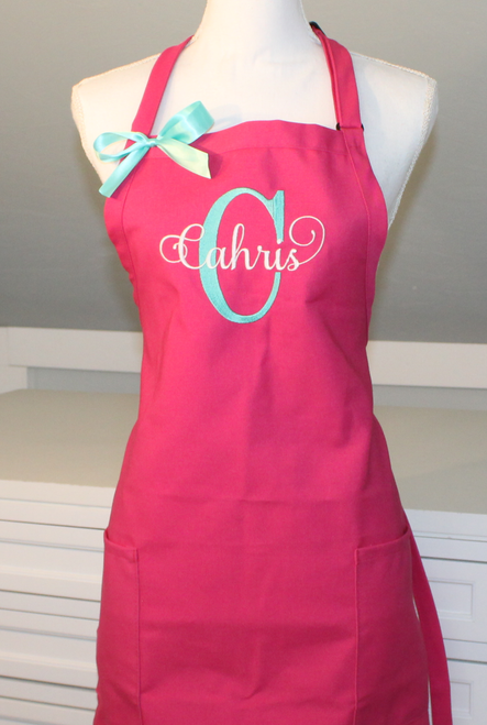 Monogrammed Apron with Large Letter and Name