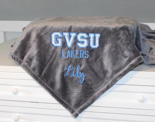Monogrammed Fleece Blanket for College