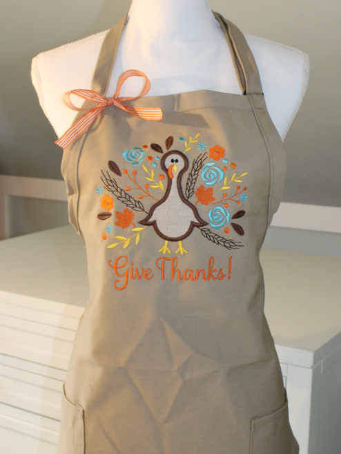 Give Thanks or Thankful Turkey Apron