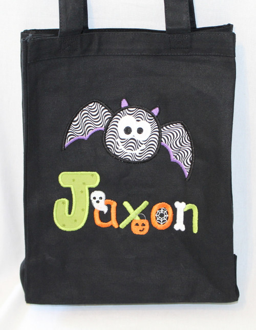 Bat Trick or Treat Bag with Halloween Font for Name.