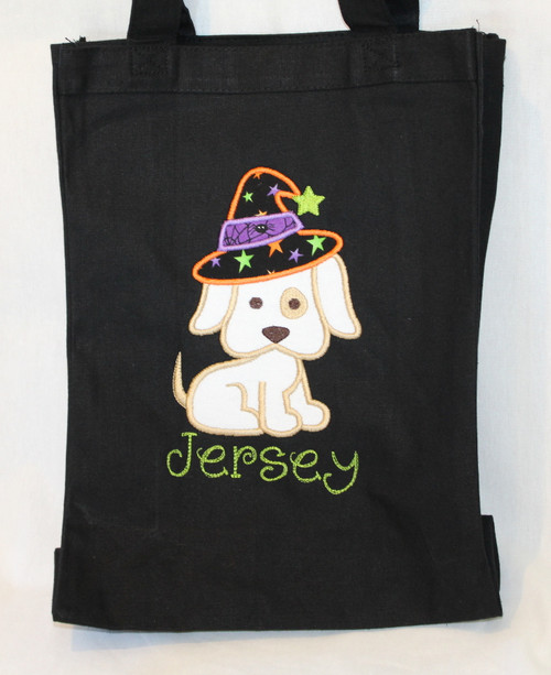 Puppy Witch Trick or Treat Bag