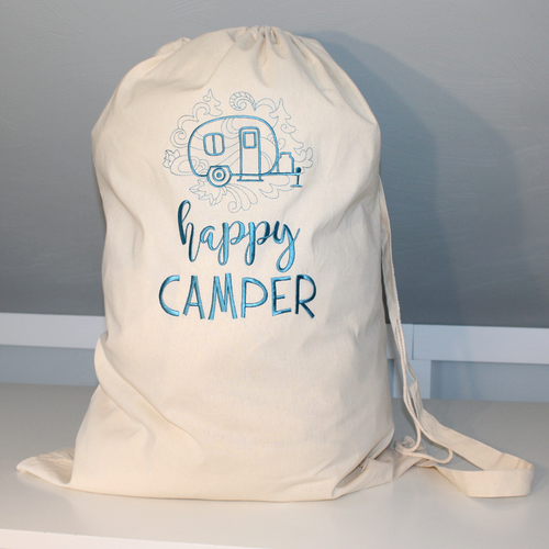 Happy Camper Laundry Bag in Teal