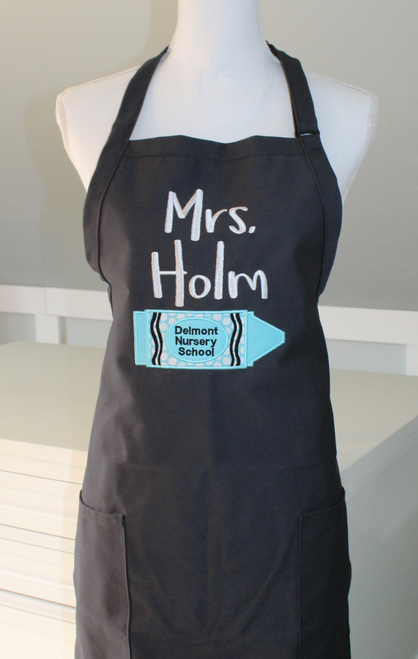 Teacher apron with crayon