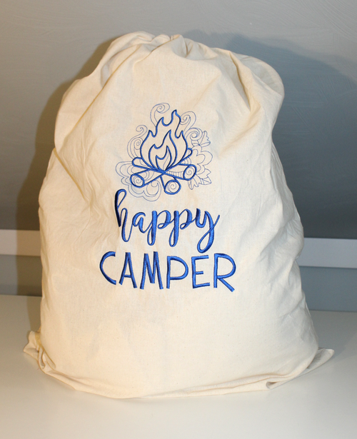 Happy Camper Laundry Bag with Camp Fire