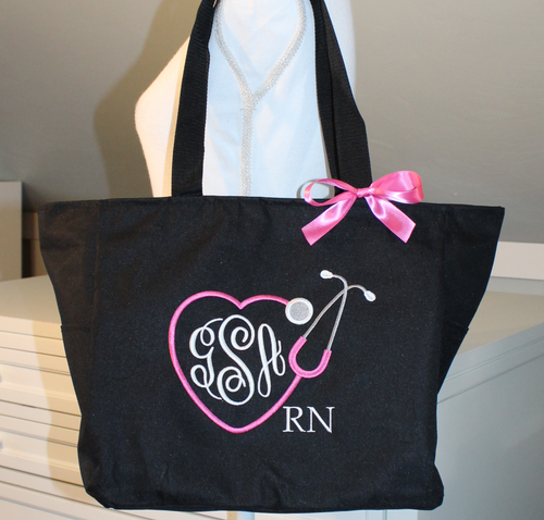 Nurse Monogrammed Zipper Tote Bag