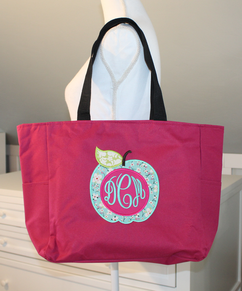 Teacher Zipper Tote with Apple applique and monogram