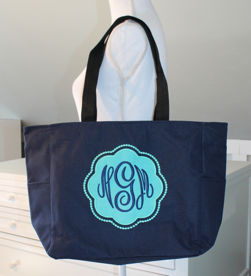 Monogrammed Applique Zipper Tote with Fancy Circle Monogram