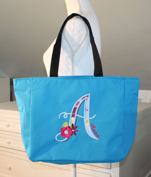 Applique Letter Tote Bag