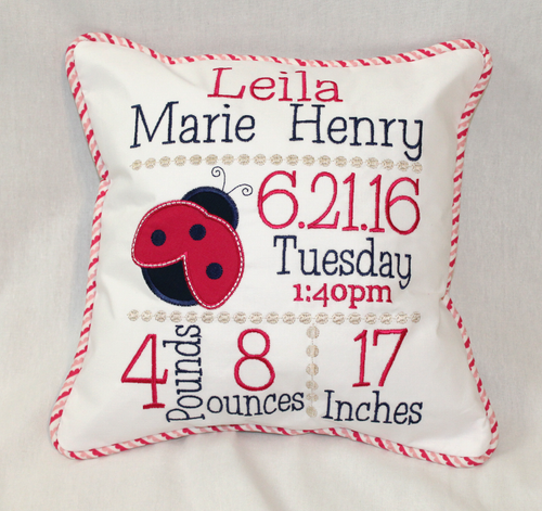 Ladybug Birth Announcement Pillow