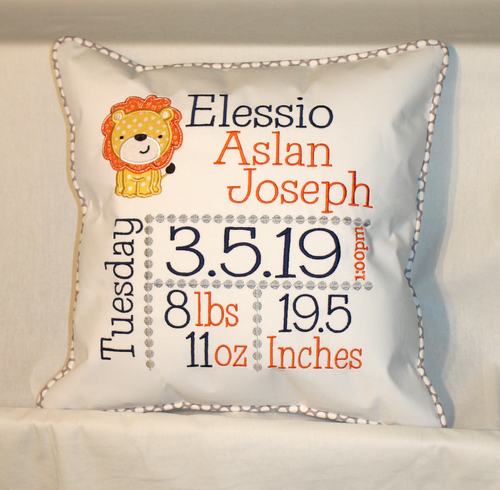 Lion Birth Announcement Pillow
