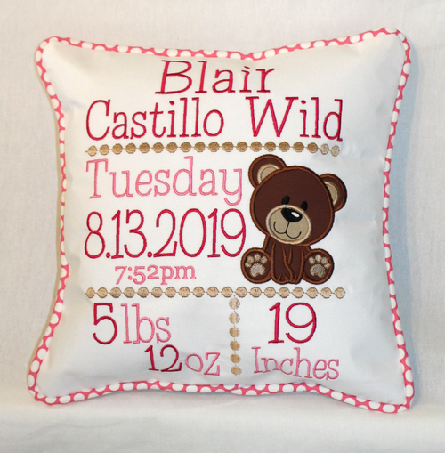 Teddy Bear Birth Announcement Pillow