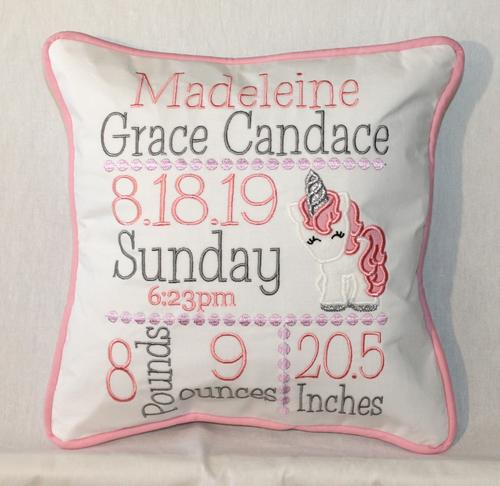 Unicorn Birth Announcement Pillow