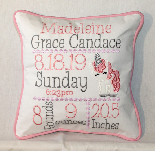 Unicorn Birth Announcement Pillow