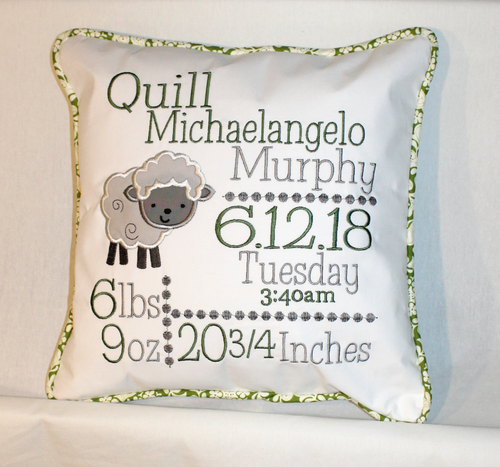 Lamb Birth Announcement Pillow in Sage Green