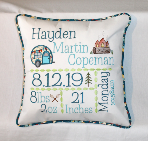Camping Birth Announcement Pillow