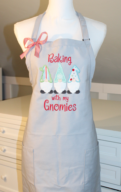 Baking with my Gnomies Apron - Light Gray