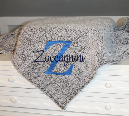 Frosted Sherpa embroidered with large letter and name