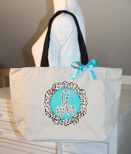 Leopard Print Applique Tote Bag