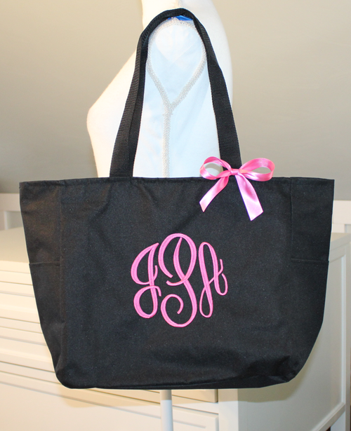 Monogrammed Zipper Tote with Hot Pink