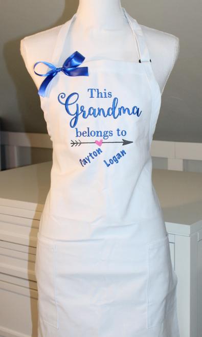 This Grandma Belongs To Apron with Grand kids Names below