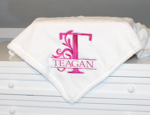 Fleece Monogrammed Blanket with Flourish Monogram