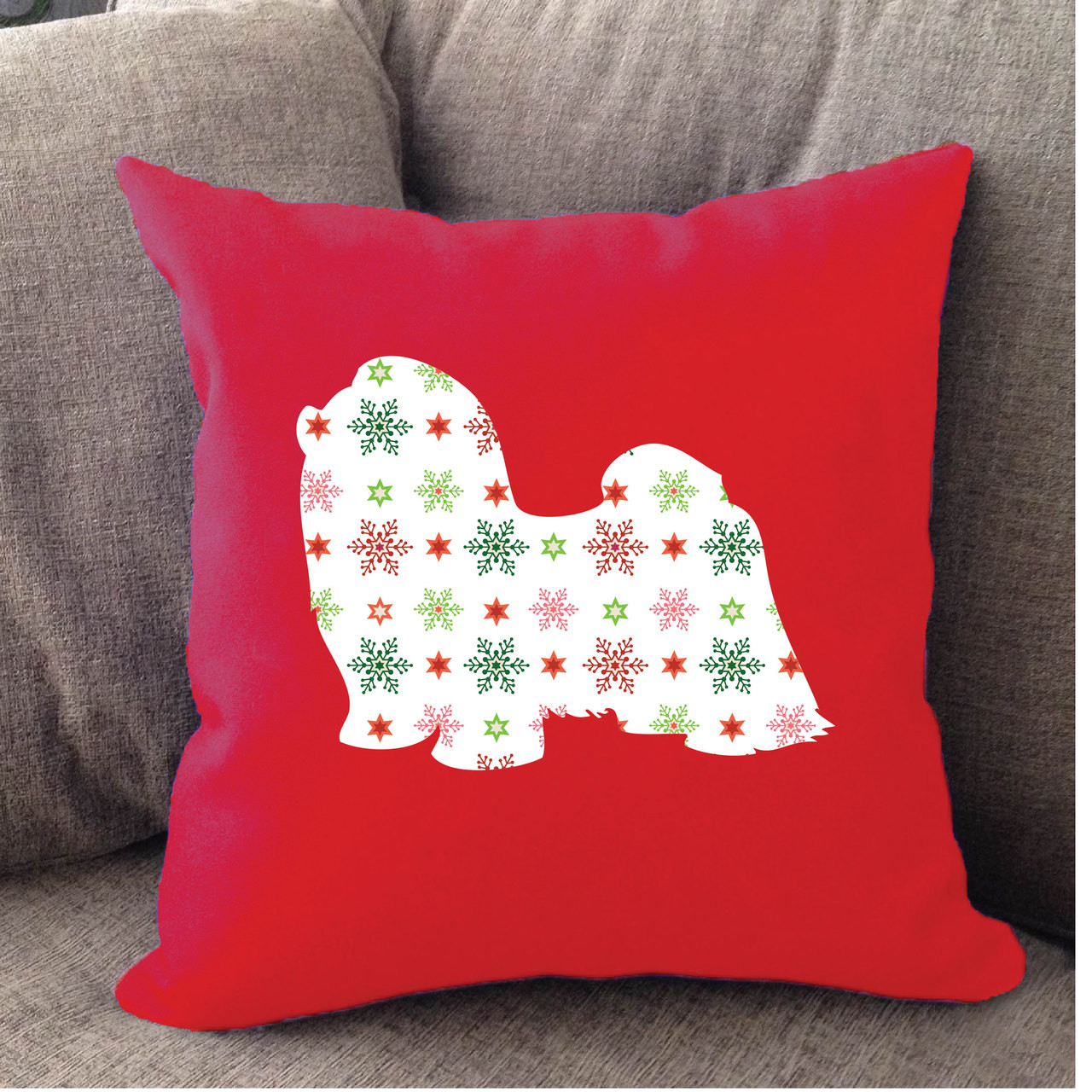 Red Holiday Shih Tzu Pillow Righteous Hound