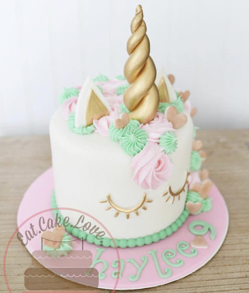 Pink & Mint Unicorn Cake