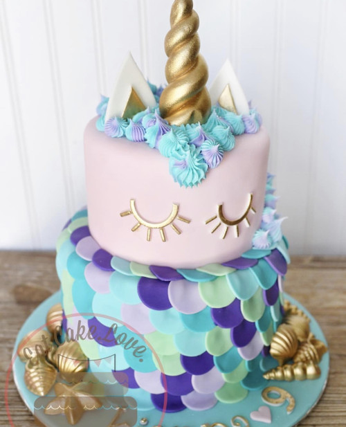 Pink Unicorn Mermaid Cake