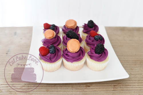 French Macaron + Berry Cupcakes