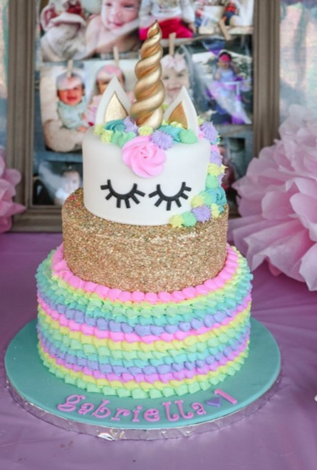 Rainbow Ruffle Sequence Unicorn Cake