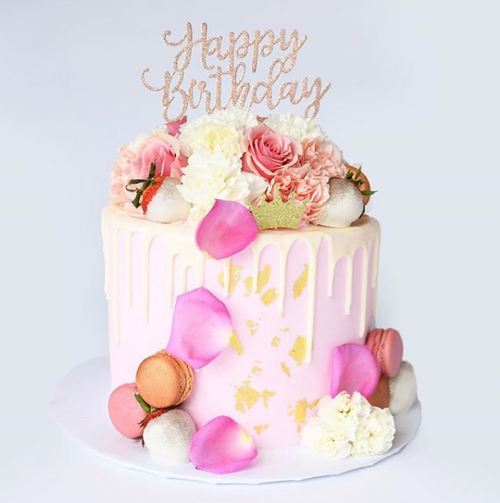 Blush and Gold Drip Cake