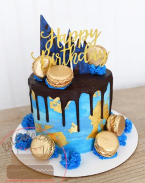 Blue and Gold Drip Cake