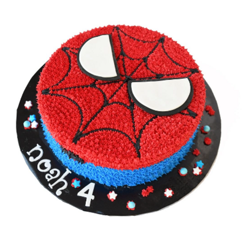 Piped Stars Spiderman Cake